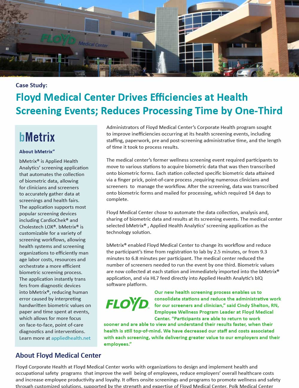 Floyd Medical Center Drives Efficiencies at Health Screening Events; Reduces Processing Time by One-Third
