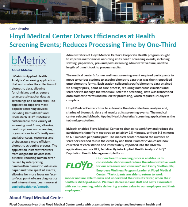Case Study: Floyd Medical Center Drives Efficiencies at Health Screening Events; Reduces Processing Time by One-Third